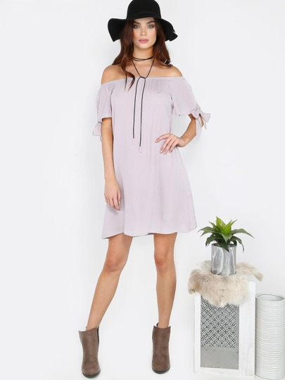 Off The Shoulder Tie Shift Dress SILVER