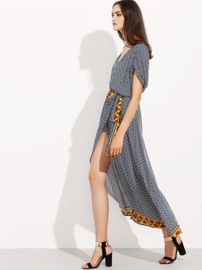 Grey Purple Short Sleeve Geometric Print Split Maxi Dress
