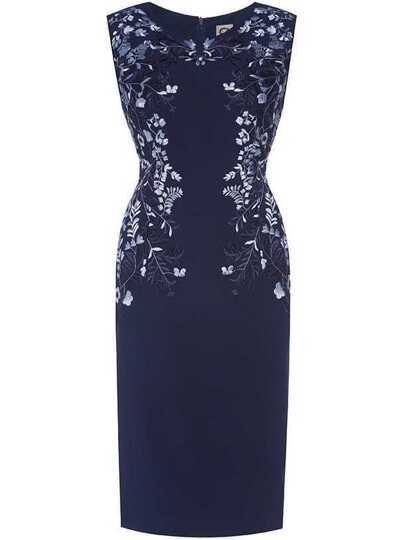 Navy Crew Neck Embroidered Sheath Dress
