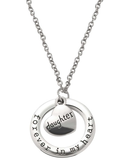 Silver Hand Stamped Heart and Ring Pendant Necklace