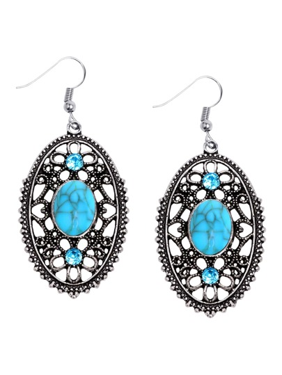 Antique Silver Turquoise Inlay Filigree Drop Earrings