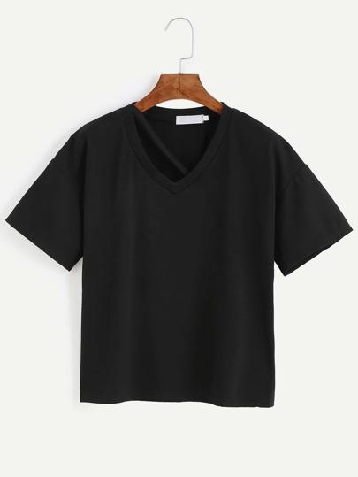 Black Strappy Neck Drop Shoulder T-shirt