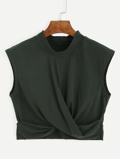 Olive Green Mock Neck Crop Knot Tank Top