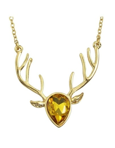 Yellow Rhinestone Deer Pendant Necklace