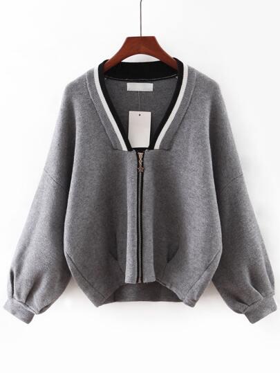 Grey V Neck Zipper Front Sweater