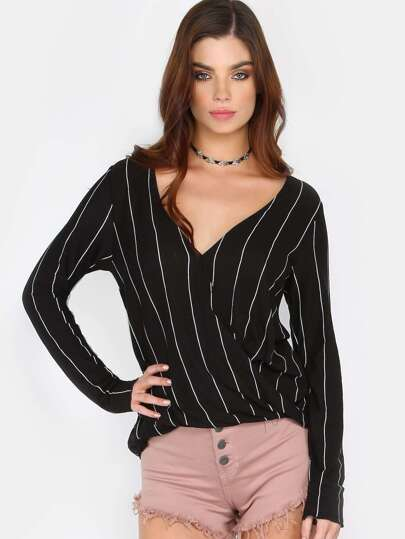 Vertical Stripe Surplice Top BLACK