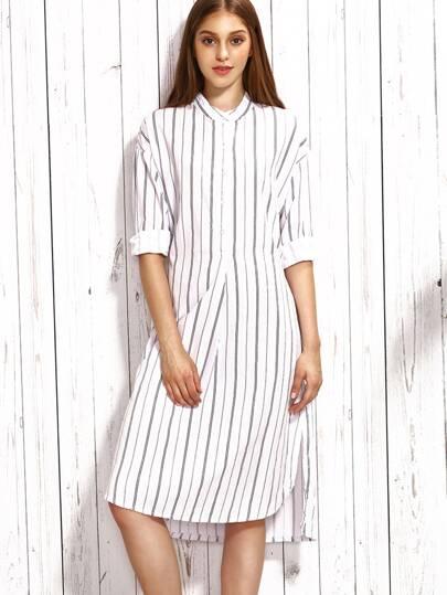 White Vertical Striped Band Collar Self Tie Shirt Dress