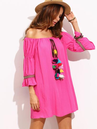 Hot Pink Off The Shoulder Tassel and Woven Tape Dress