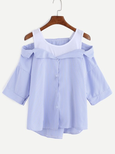 Blue Stripe Contrast Open Shoulder High Low Blouse