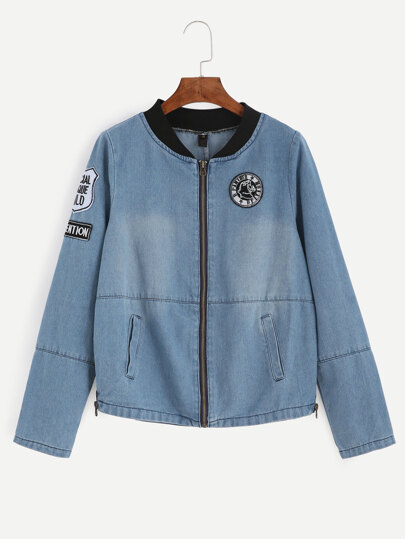 Contrast Ribbed Neck Embroidered Patch Detail Chambray Jacket