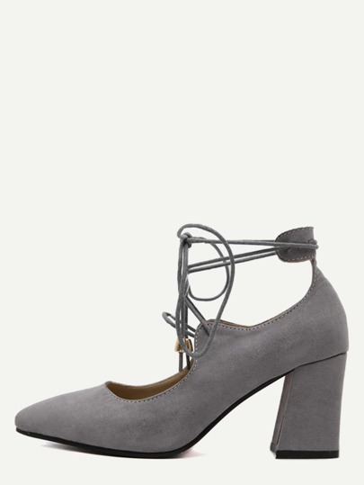 Grey Faux Suede Lace Up Pointed Toe Shoes