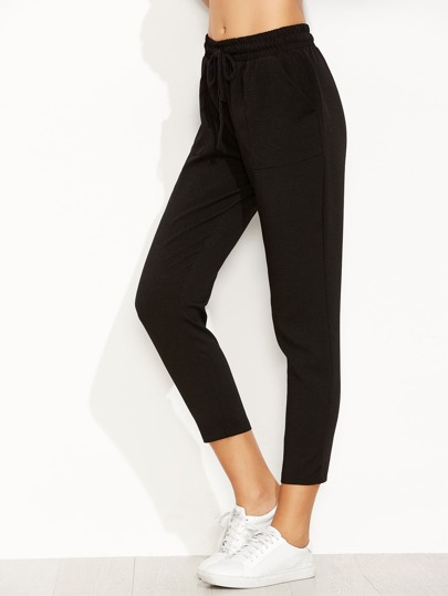 Black Drawstring Waist Pants With Pockets