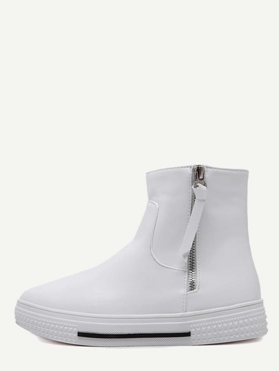 White Side Zipper High Top Sneakers