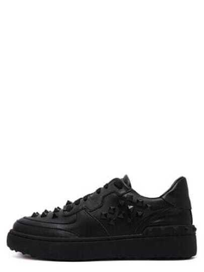 Black Round Toe Plastic Rivet Lace Up Sneakers