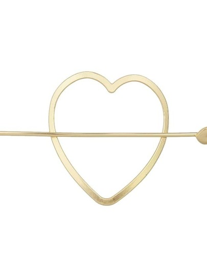 Gold Color Simple Heart Shape Hair Clip For Women