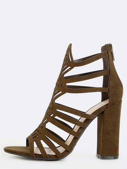 Faux Suede Cut Out Chunky Heels OLIVE