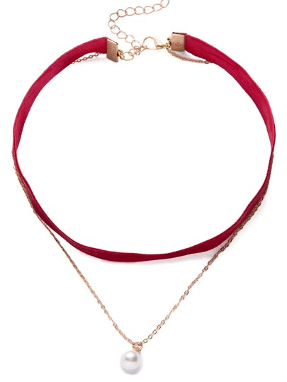 Red Elegant Pendant Pearl Necklace