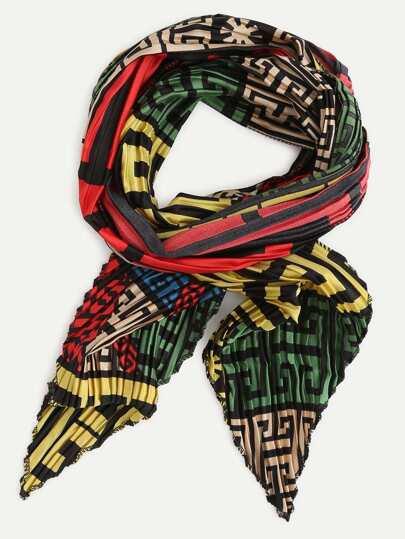 Multicolor Folding Print Scarf