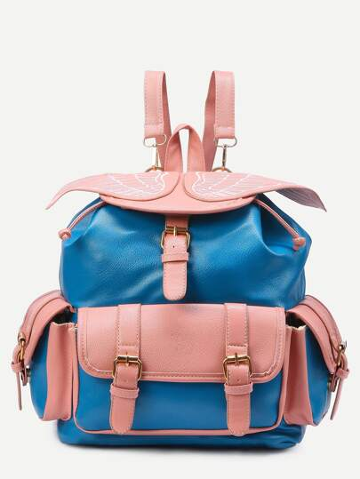Blue Wing Embroidered Contrast Buckle Flap Backpack