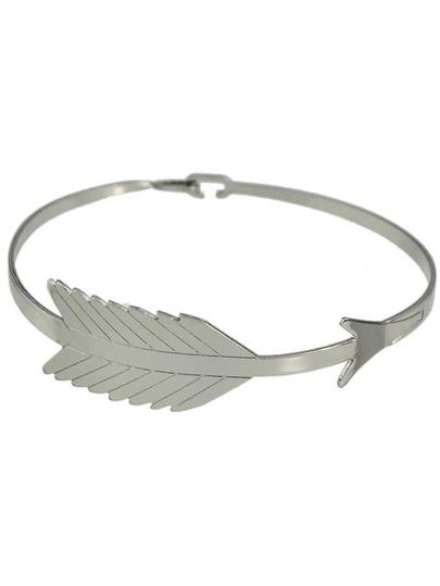Silver Simple Leaf Shape Metal Bracelet For Women