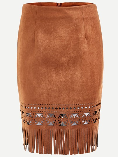 Brown Hollow Out Fringe Hem Zipper Suede Skirt