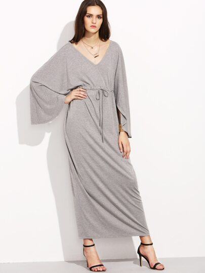 Grey Long Sleeve Drawsting Long Dress