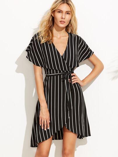 Black Stripe Deep V Neck Cape Sleeve Wrap Dress