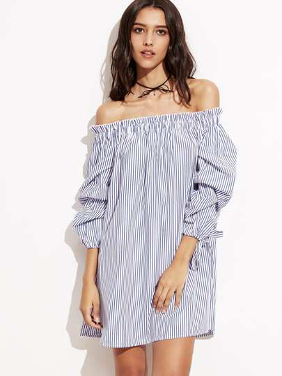 Pinstripe Frill Detail Tie Cuff Bardot Dress