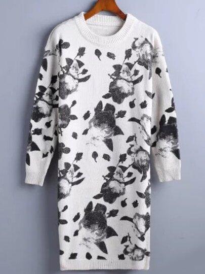 White Ink Panting Print Sweater Dress