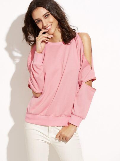 Pink Zipper Detail Sweatshirt