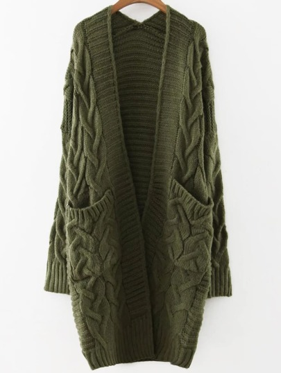 Army Green Cable Knit Front Pocket Long Sweater Coat