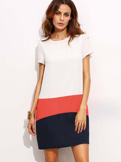 Color Block Round Neck Short Sleeve Shift Dress