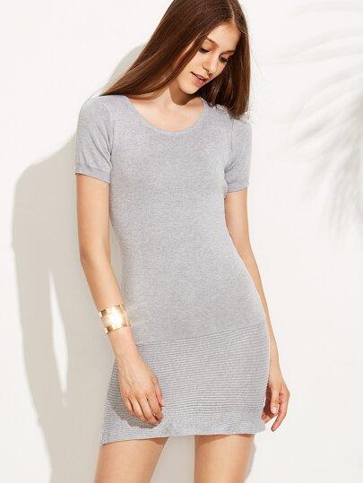 Grey Textured Knit Sheath Dress