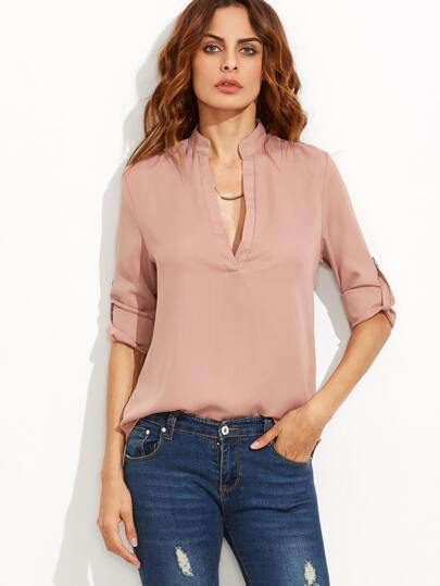 Pink Deep V Neck Roll Tab Sleeve High Low Blouse