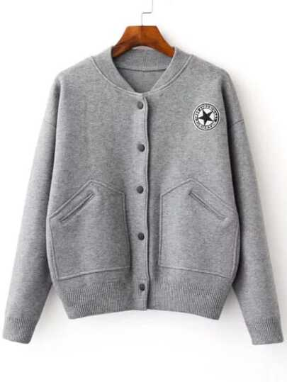Grey Varsity Embroidered Patch Knitted Bomber Jacket With Pocket