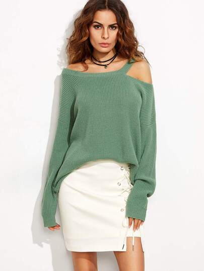 Green Asymmetric Cold Shoulder Long Sweater