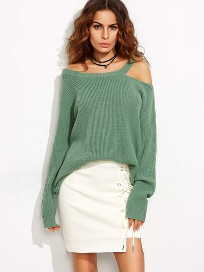 Asymmetric Dropped Shoulder Cutout Sweater