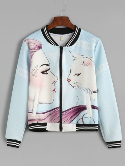 Blue Girl And Cat Print Striped Hem Baseball Jacket