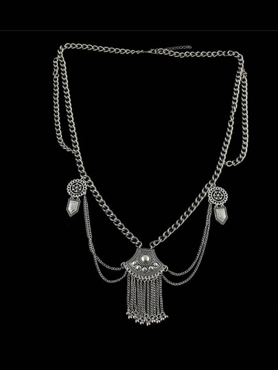 Antique Silver Beach Design Multilayers Waist Chain For Women