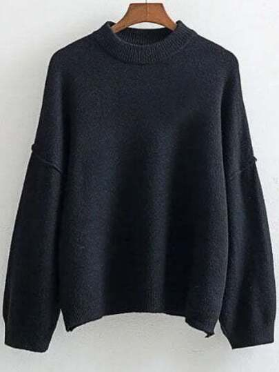 Black Crew Neck Drop Shoulder Ribbed Trim Sweater