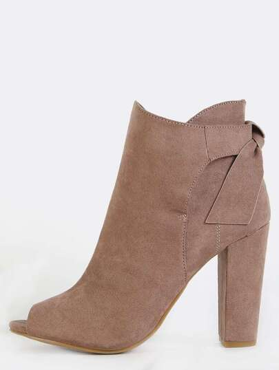 Peep Toe Suede Ankle Boots TAUPE
