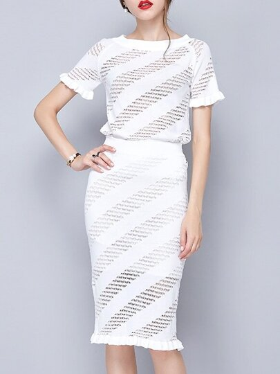 White Crew Neck Mesh Top With Skirt