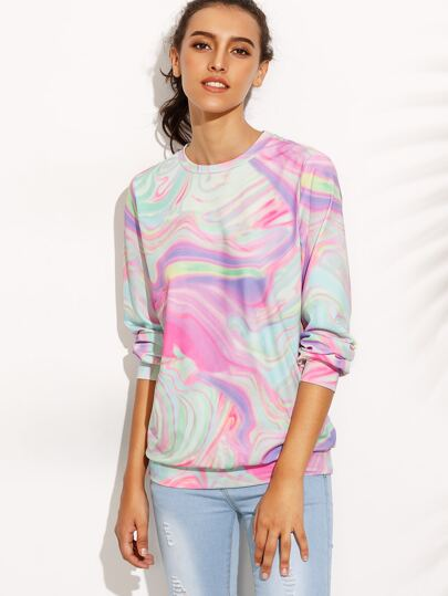 Multicolor Print Round Neck Long Sleeve Sweatshirt