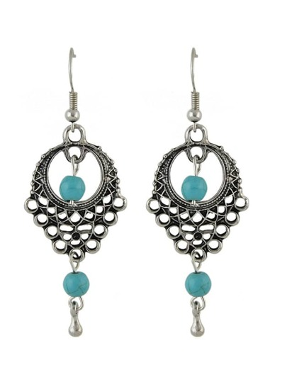 Antique Silver Turquoise Drop Earrings