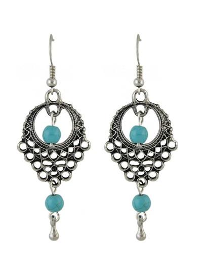 Boucles d'oreilles avec pendentif turquoise - argenté
