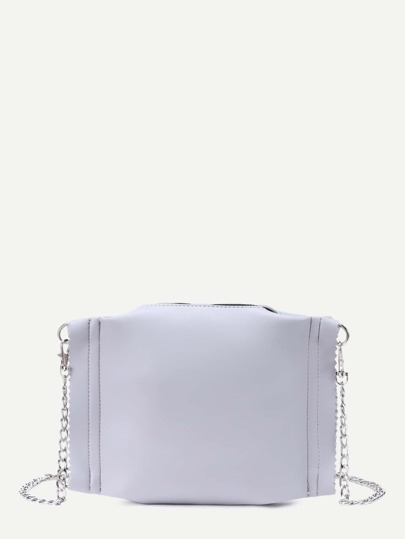 Light Grey Faux Leather Zip Closure Chain Bag