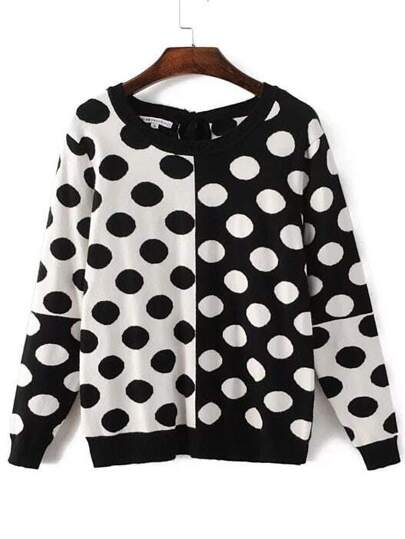 Black White Polka Dot Pattern Tied Back Knitwear