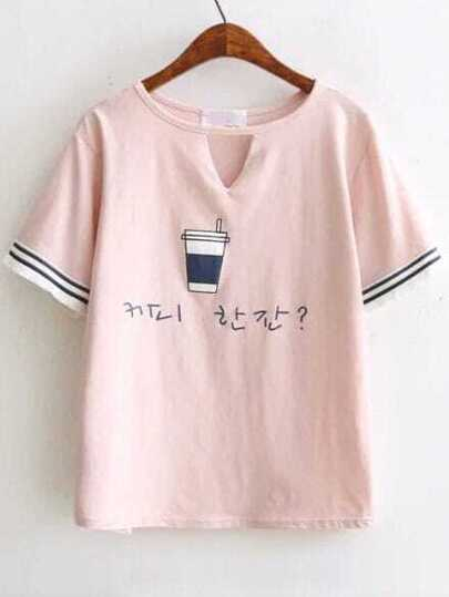Pink Cup Print Cut Out Fringe Trim Tee