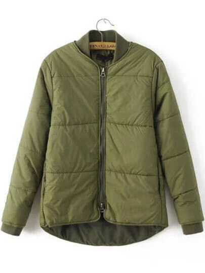 Army Green Zipper UP High Low Padded Jacket