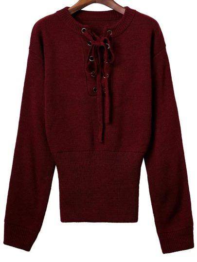 Pull tricoté à côte avec lacet manche longue - bordeaux